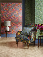 Liberty Fabric & John Lewis Patricia Anne spice w'paper £69, Wallace secret garden w'paper £115, armchair in Liberty Faria flowers marigold £1499