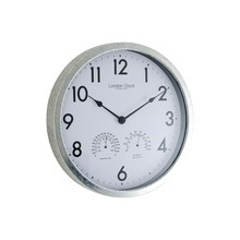 London Clock Company Galvanised Metal Outdoor Clock, Dia.35cm, Grey