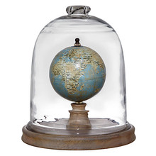 Coastal globe cloche with wooden base