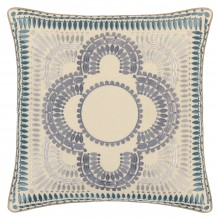 John Lewis - Genevieve Bennett Pom Pom cushion in blue