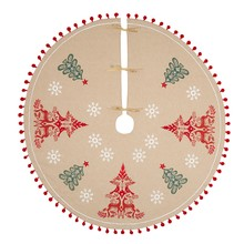 Vivid Folklore Stag and Robin Embroidered Pom Pom Tree Skirt, Multi, 110cm £45