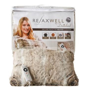 Relaxwell Deluxe Faux Fur Heated Cushion, Alaskan Huskey